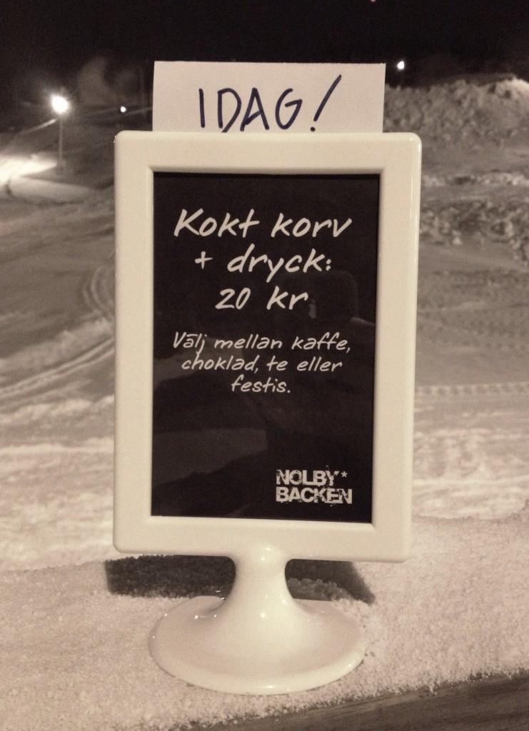 Kokt korv + dryck 20 kr